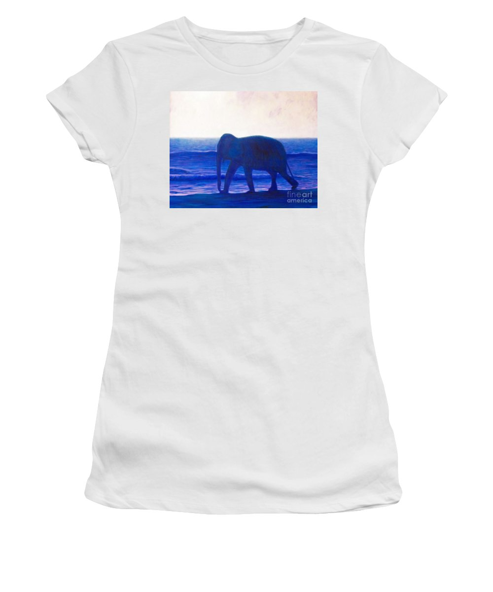 Elephant Women's T-Shirt (Athletic Fit) featuring the painting When I Was Young by Brian Commerford