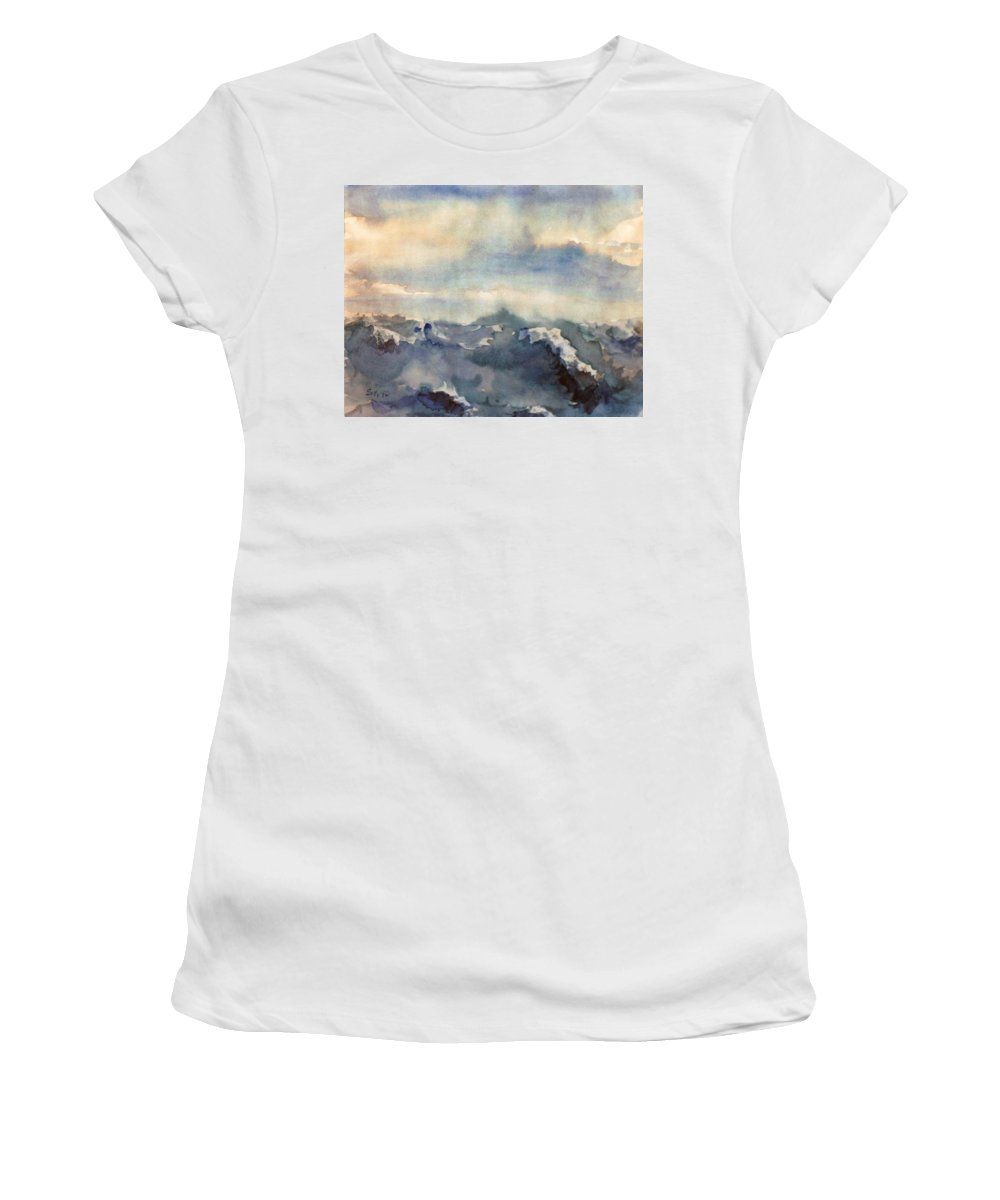 Seascape Women's T-Shirt featuring the painting Where Sky Meets Ocean by Steve Karol