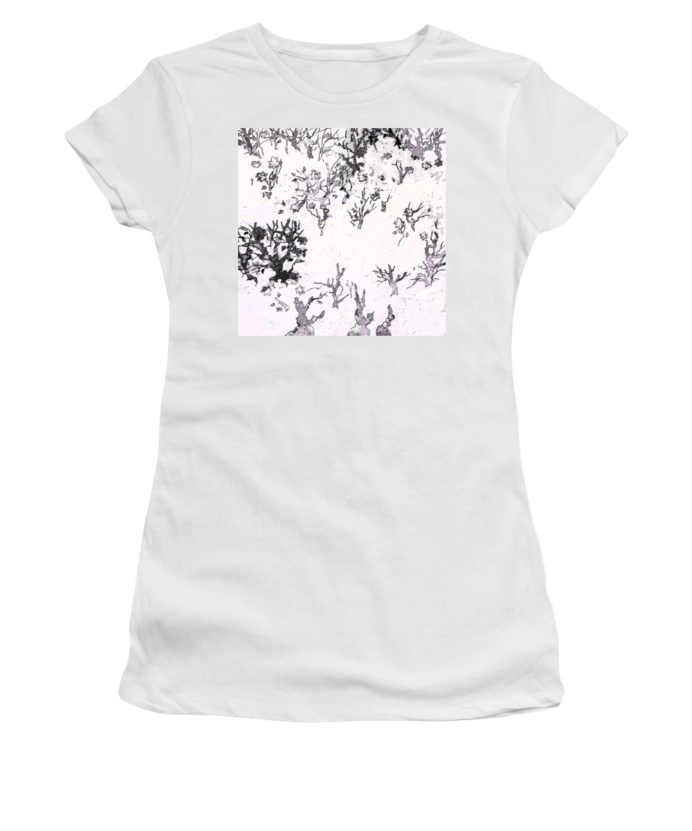 Abstract Women's T-Shirt featuring the digital art White As Snow by Rachel Christine Nowicki