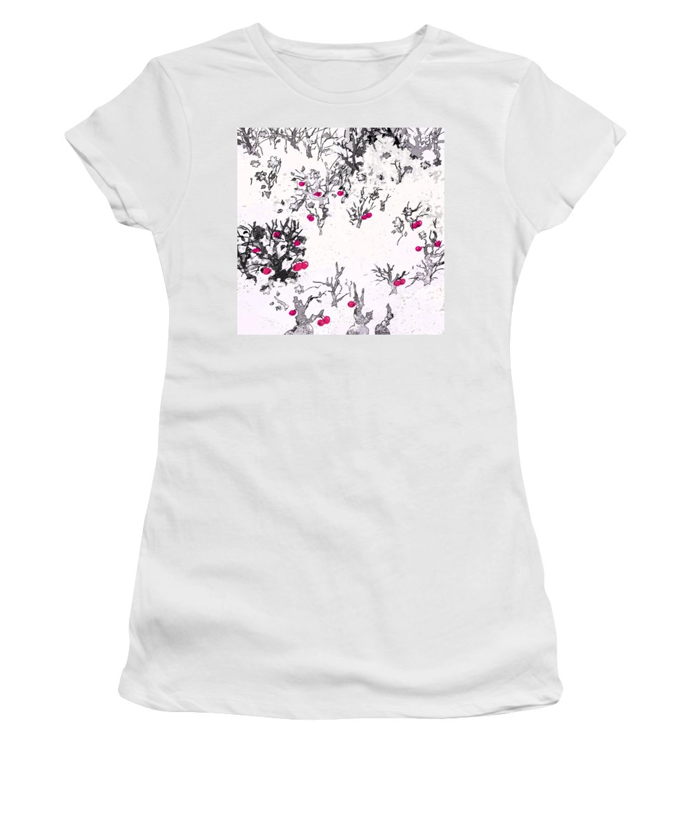 Abstract Women's T-Shirt featuring the digital art White As Snow With Cherries by Rachel Christine Nowicki