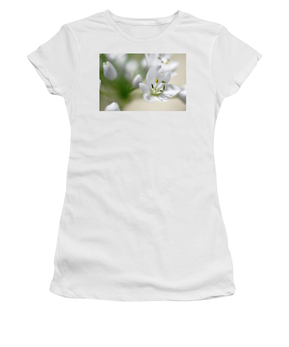 Lachish Women's T-Shirt (Athletic Fit) featuring the photograph White Blossom 2 by Dubi Roman