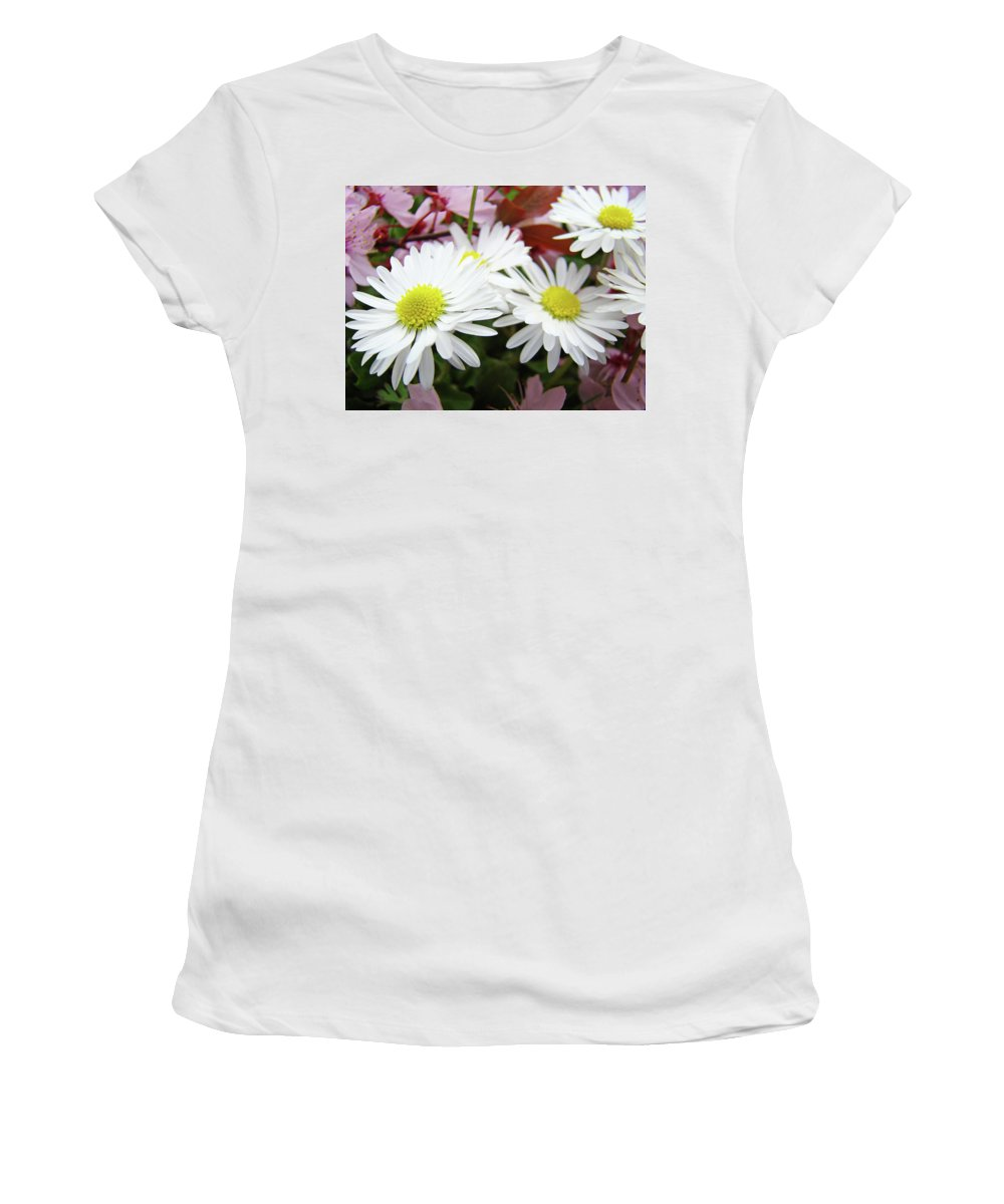 Nature Women's T-Shirt (Athletic Fit) featuring the photograph White Daisy Floral Art Print Canvas Pink Blossom Baslee Troutman by Baslee Troutman