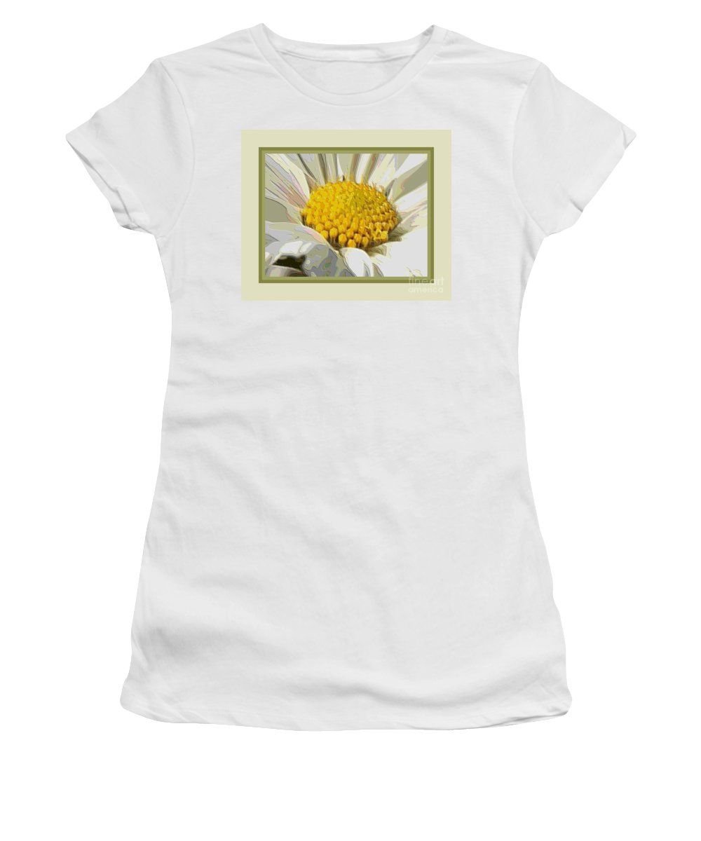 White Flower Women's T-Shirt (Athletic Fit) featuring the photograph White Flower Abstract With Border by Carol Groenen