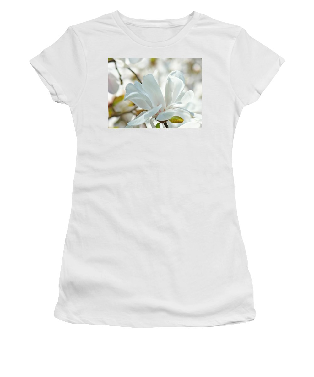 Magnolia Women's T-Shirt (Athletic Fit) featuring the photograph White Magnolia Tree Flower Art Prints Magnolias Baslee Troutman by Baslee Troutman