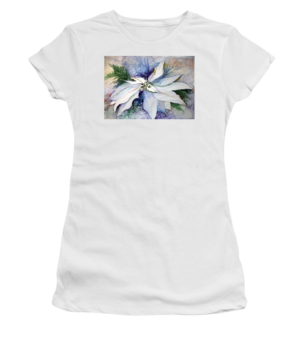 Floral Women's T-Shirt (Athletic Fit) featuring the painting White Poinsettia by Mindy Newman