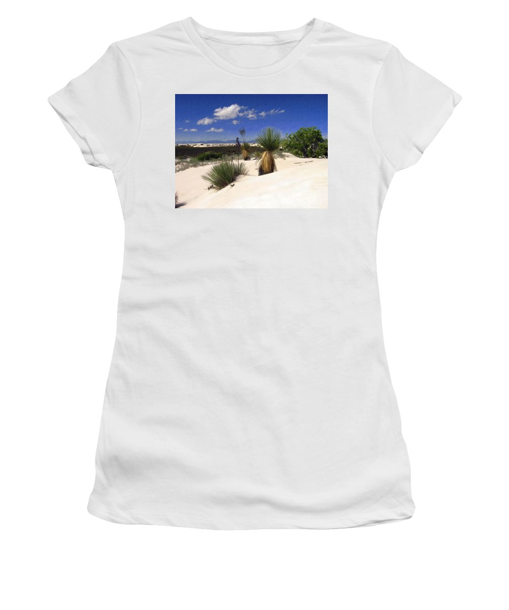 White Sands Women's T-Shirt (Athletic Fit) featuring the photograph White Sands by Kurt Van Wagner