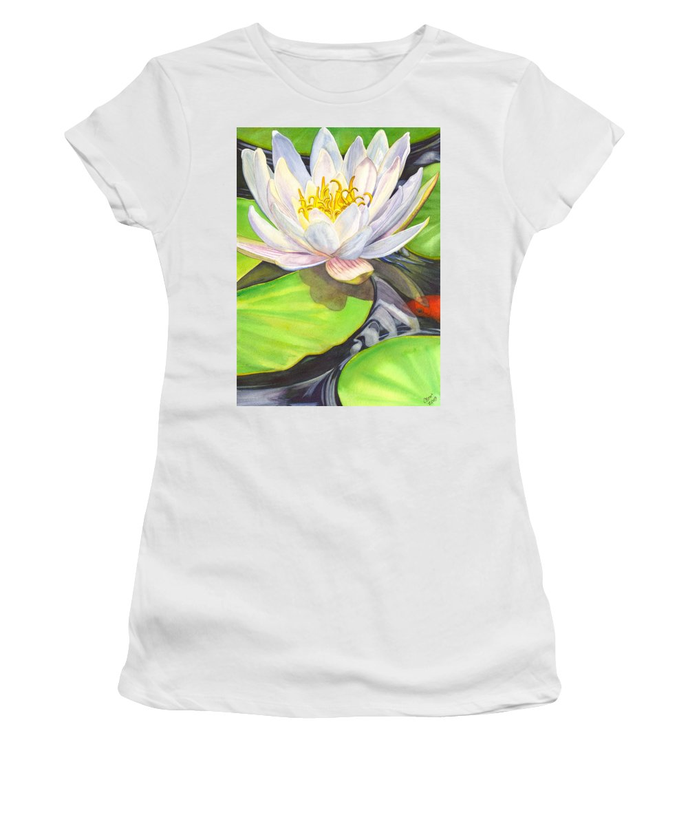 Lily Women's T-Shirt (Athletic Fit) featuring the painting White Water Lily by Catherine G McElroy