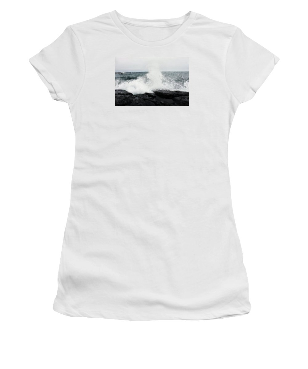 Waves Women's T-Shirt (Athletic Fit) featuring the photograph White Waves Black Rocks by Kendall Tabor