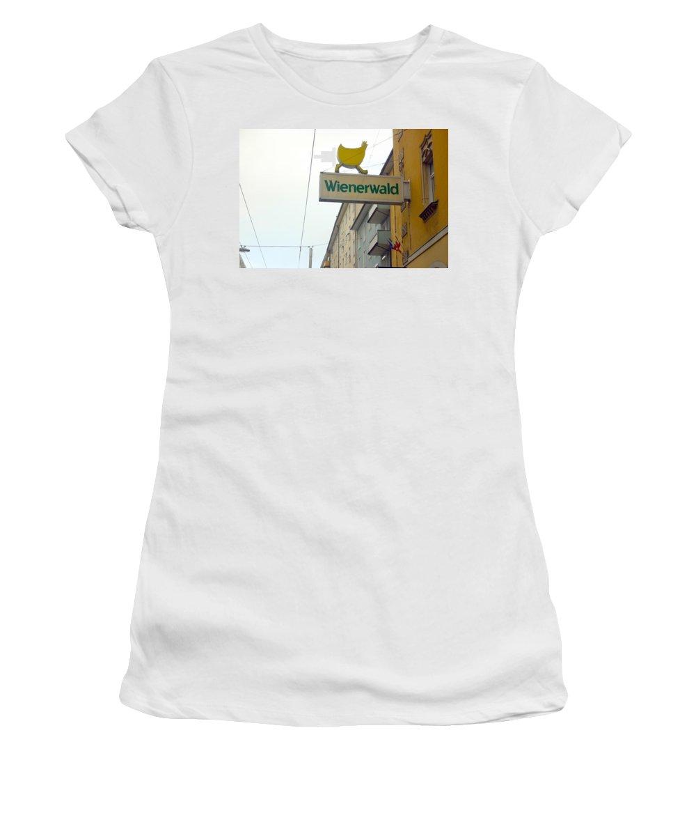 Chicken Women's T-Shirt (Athletic Fit) featuring the photograph Wienerwald In Salzburg by Minaz Jantz