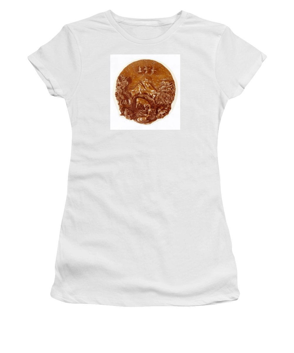 Bronze Women's T-Shirt (Athletic Fit) featuring the sculpture Wild And Free Detail by Dawn Senior-Trask