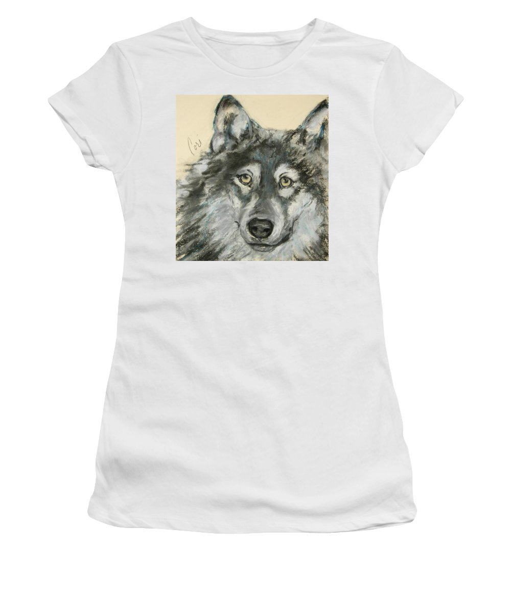 Wolf Women's T-Shirt (Athletic Fit) featuring the drawing Wild At Heart by Cori Solomon