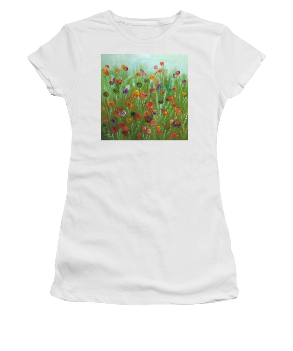 Wild Flowers Abstract Women's T-Shirt (Athletic Fit) featuring the painting Wild Flowers Abstract by Angeles M Pomata