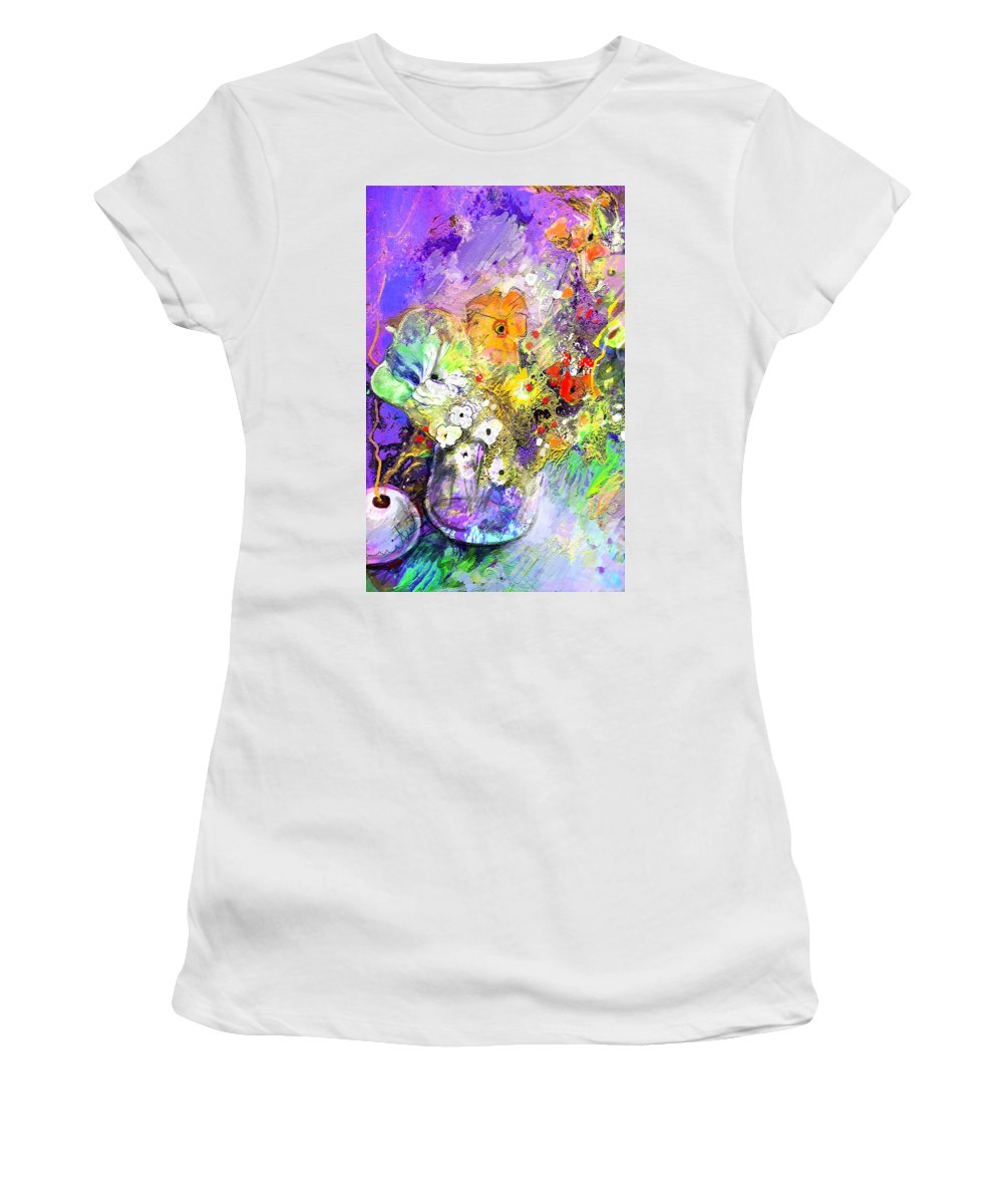 Still Life Women's T-Shirt (Athletic Fit) featuring the painting Wild Flowers Bouquet 02 by Miki De Goodaboom