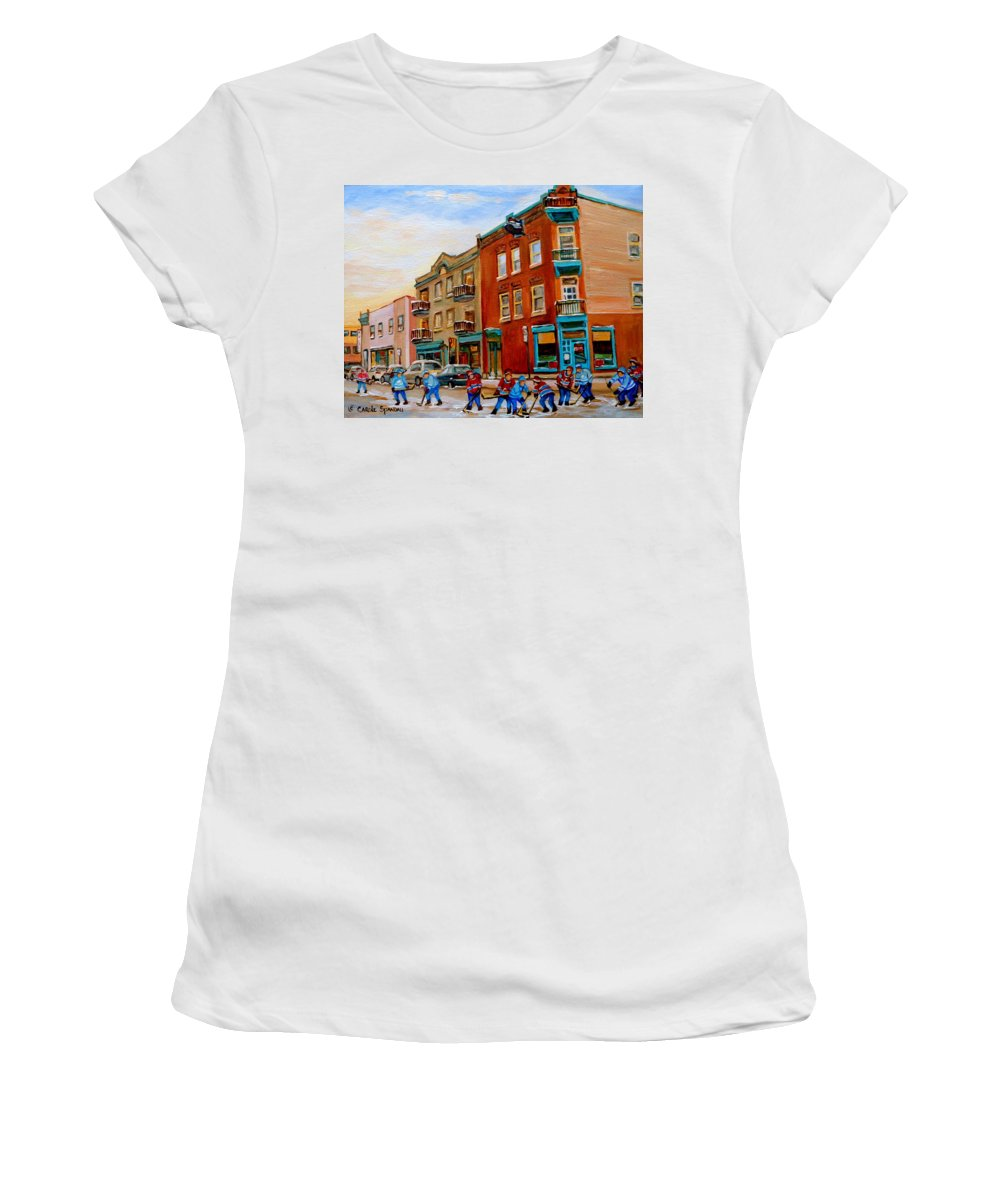 Wilenskys Deli Women's T-Shirt (Athletic Fit) featuring the painting Wilensky's Street Hockey Game by Carole Spandau