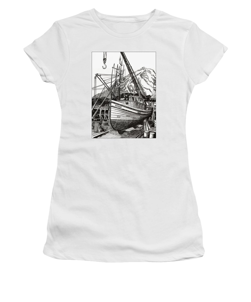 Nautical Shipyard Fishing Boats Women's T-Shirt featuring the drawing Will Fish Again Another Day by Jack Pumphrey