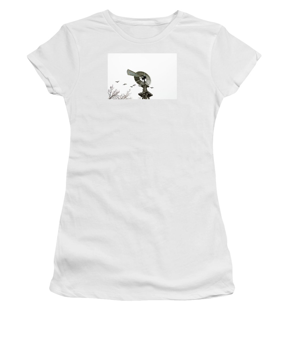 Geese Women's T-Shirt (Athletic Fit) featuring the photograph Windmill And Geese by David Arment