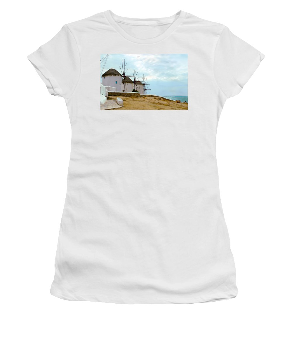 Mykonos Women's T-Shirt (Athletic Fit) featuring the photograph Windmills Of Mykonos I by Madeline Ellis