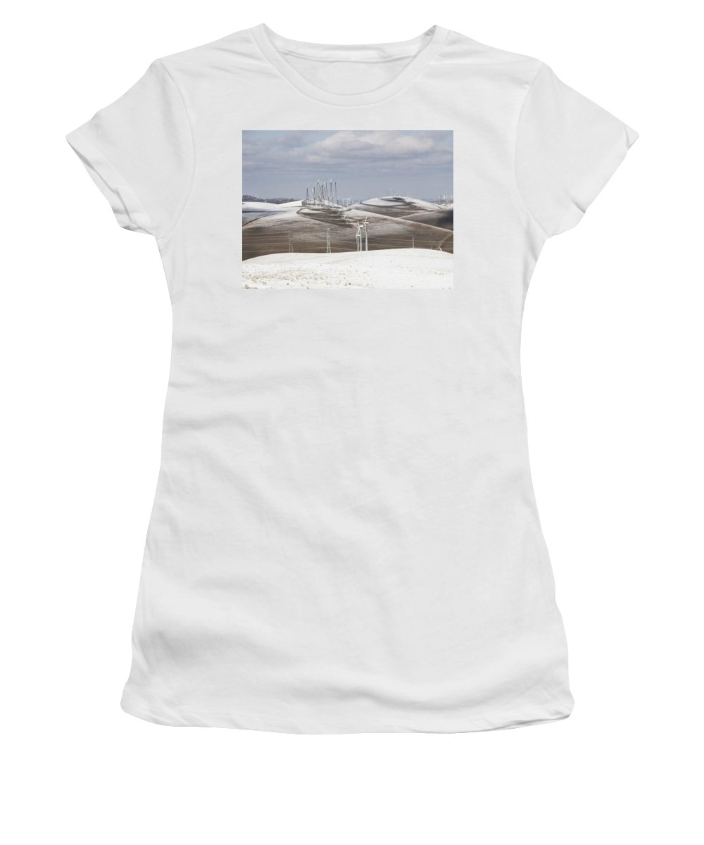 Patterson Pass Women's T-Shirt (Athletic Fit) featuring the photograph Windmils In Snow by Karen W Meyer