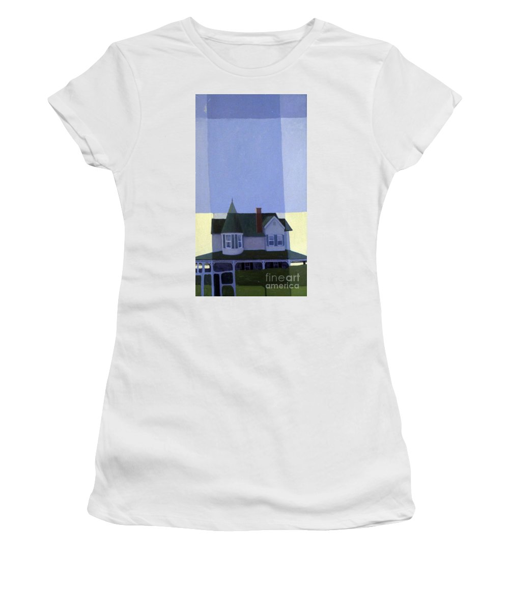 Victorian House Women's T-Shirt (Athletic Fit) featuring the painting Windows by Donald Maier