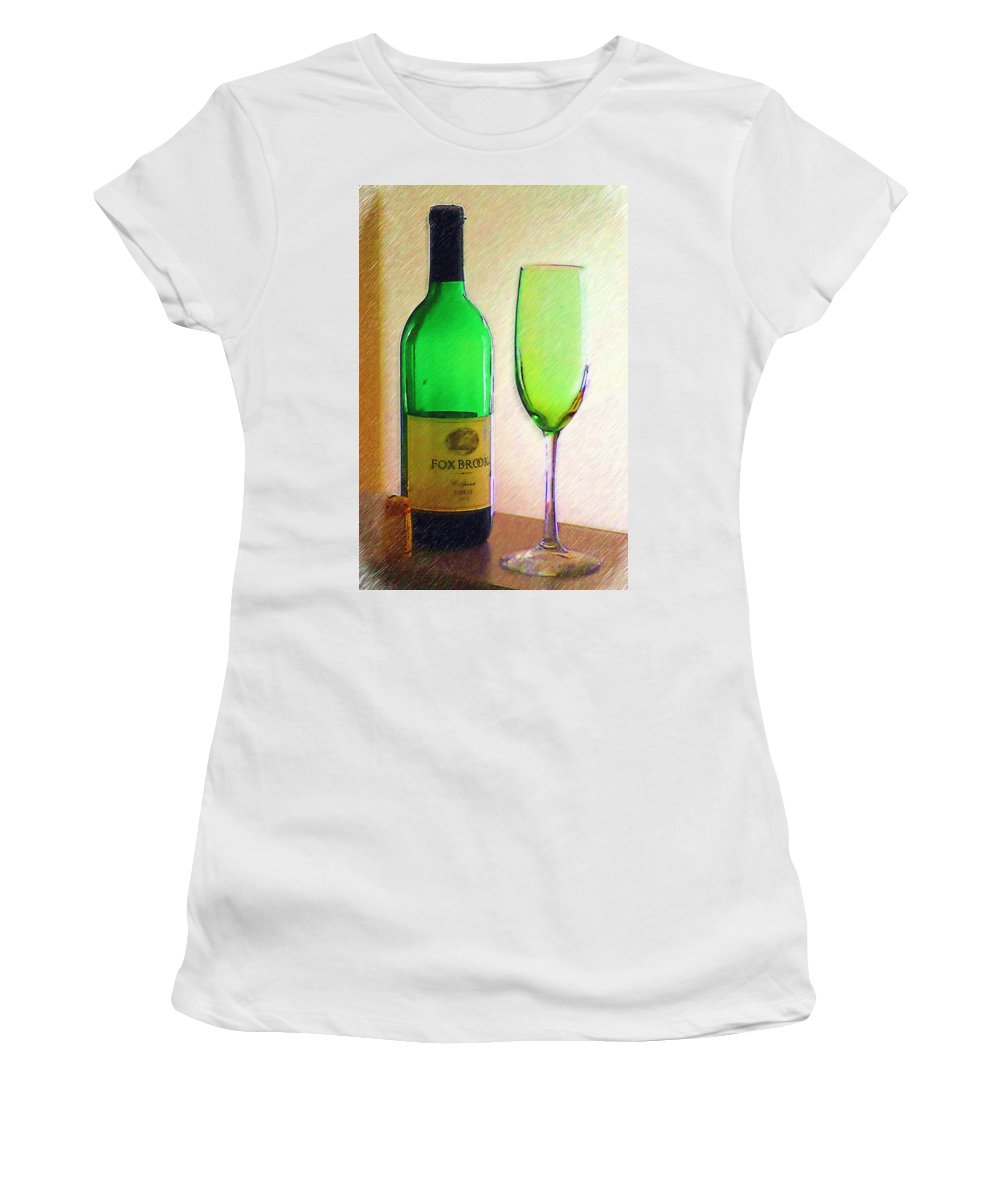 Wine Women's T-Shirt (Athletic Fit) featuring the photograph Wine And Glass 2 by Donna Bentley