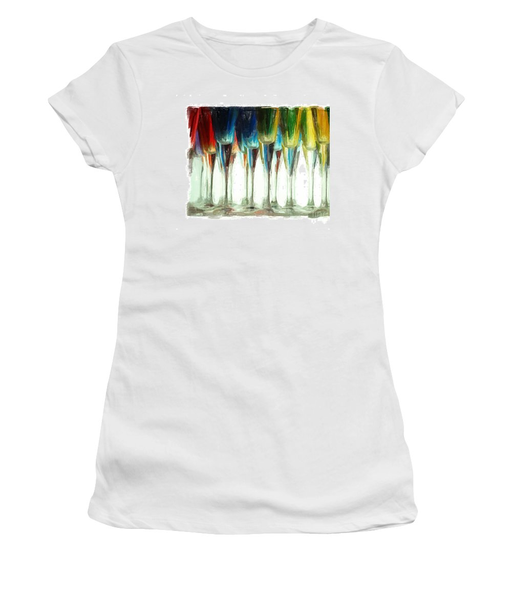 Art Deco Women's T-Shirt (Athletic Fit) featuring the mixed media Wine Flutes by Henry J Yasses