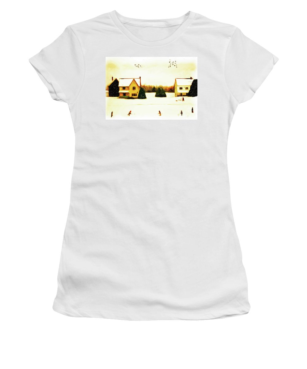 Hockey Women's T-Shirt featuring the photograph Winter Hockey by Anthony Djordjevic