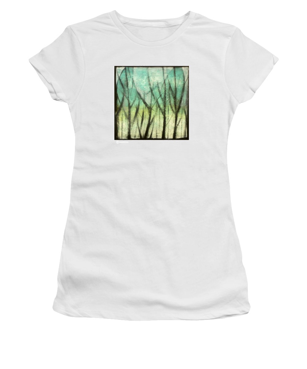 Trees Women's T-Shirt (Athletic Fit) featuring the painting Winter Into Spring by Tim Nyberg