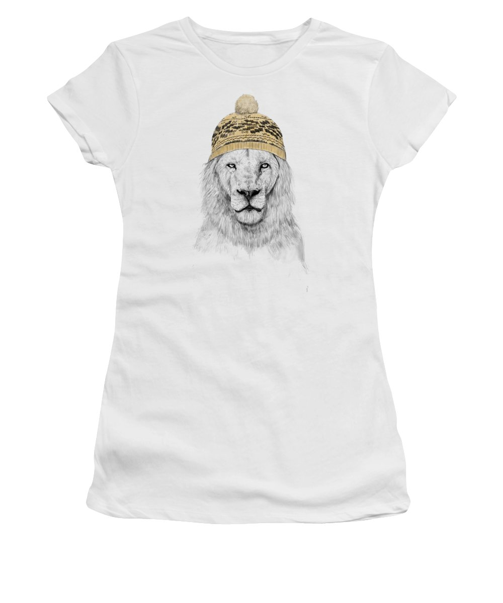 Lion Women's T-Shirt featuring the mixed media Winter is coming by Balazs Solti