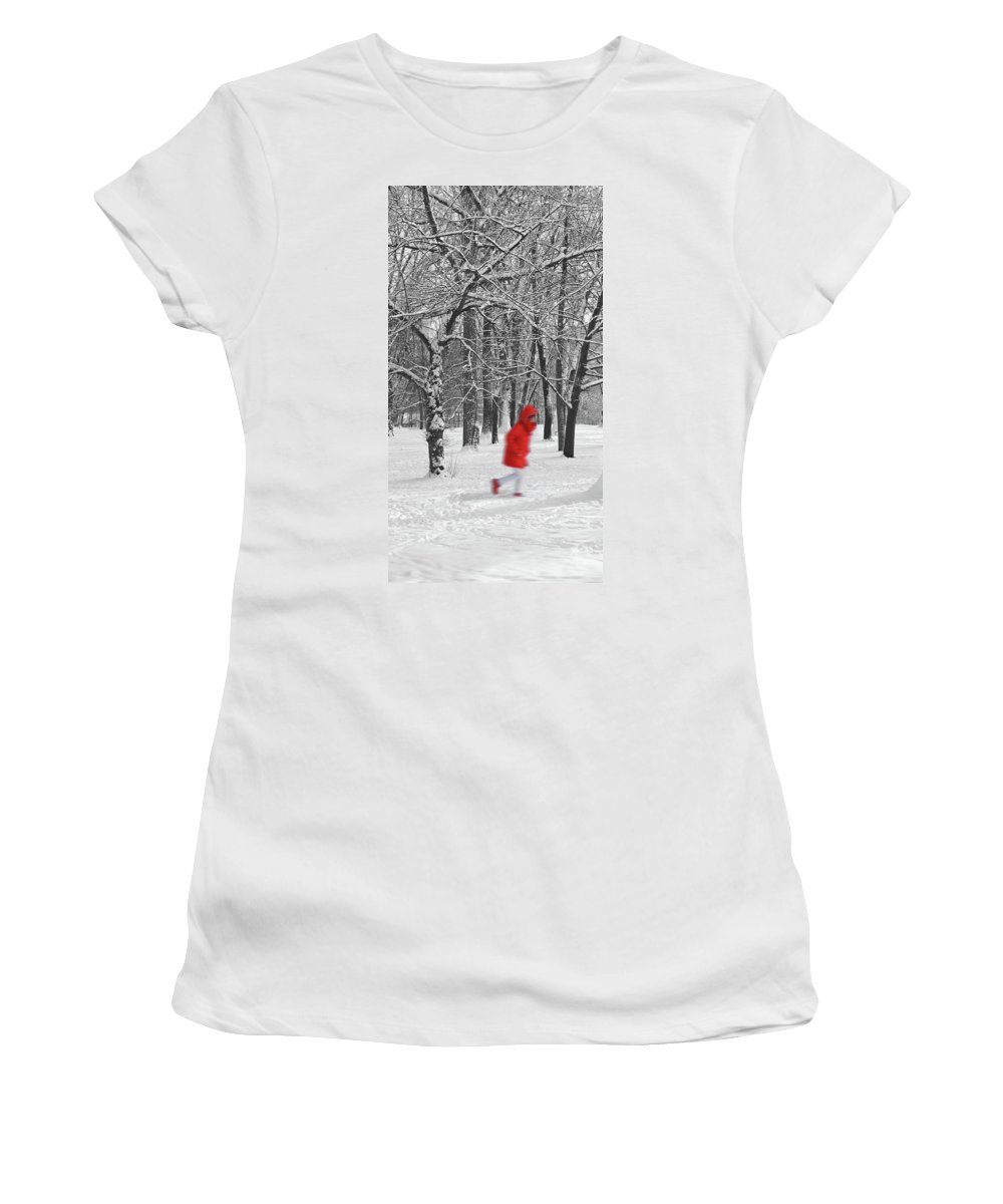Winter Women's T-Shirt (Athletic Fit) featuring the pyrography Winter Landscape With Walking Gir In Red. Blac White Concept Gra by Cranach Studio