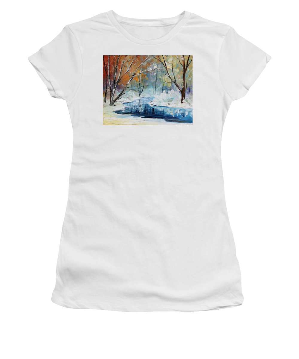 Afremov Women's T-Shirt (Athletic Fit) featuring the painting Winter New by Leonid Afremov