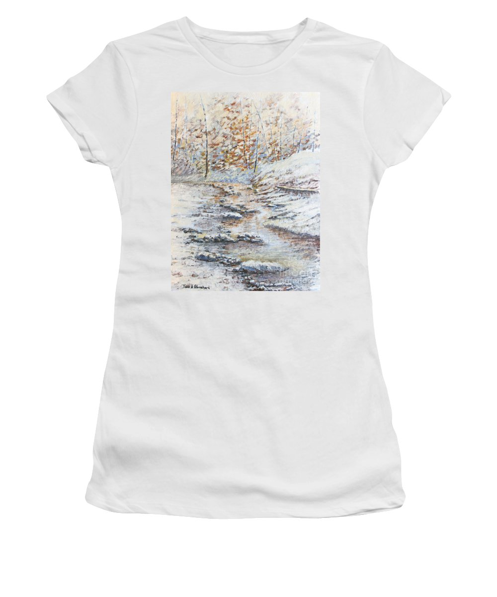 Landscape Women's T-Shirt featuring the painting Winter River by Todd Blanchard