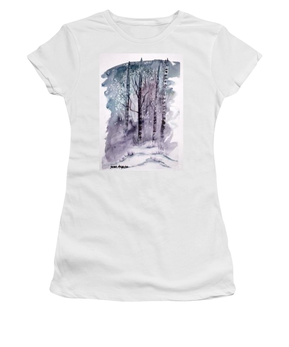 Watercolor Landscape Painting Women's T-Shirt (Athletic Fit) featuring the painting Winter Snow Landscape Painting Print by Derek Mccrea