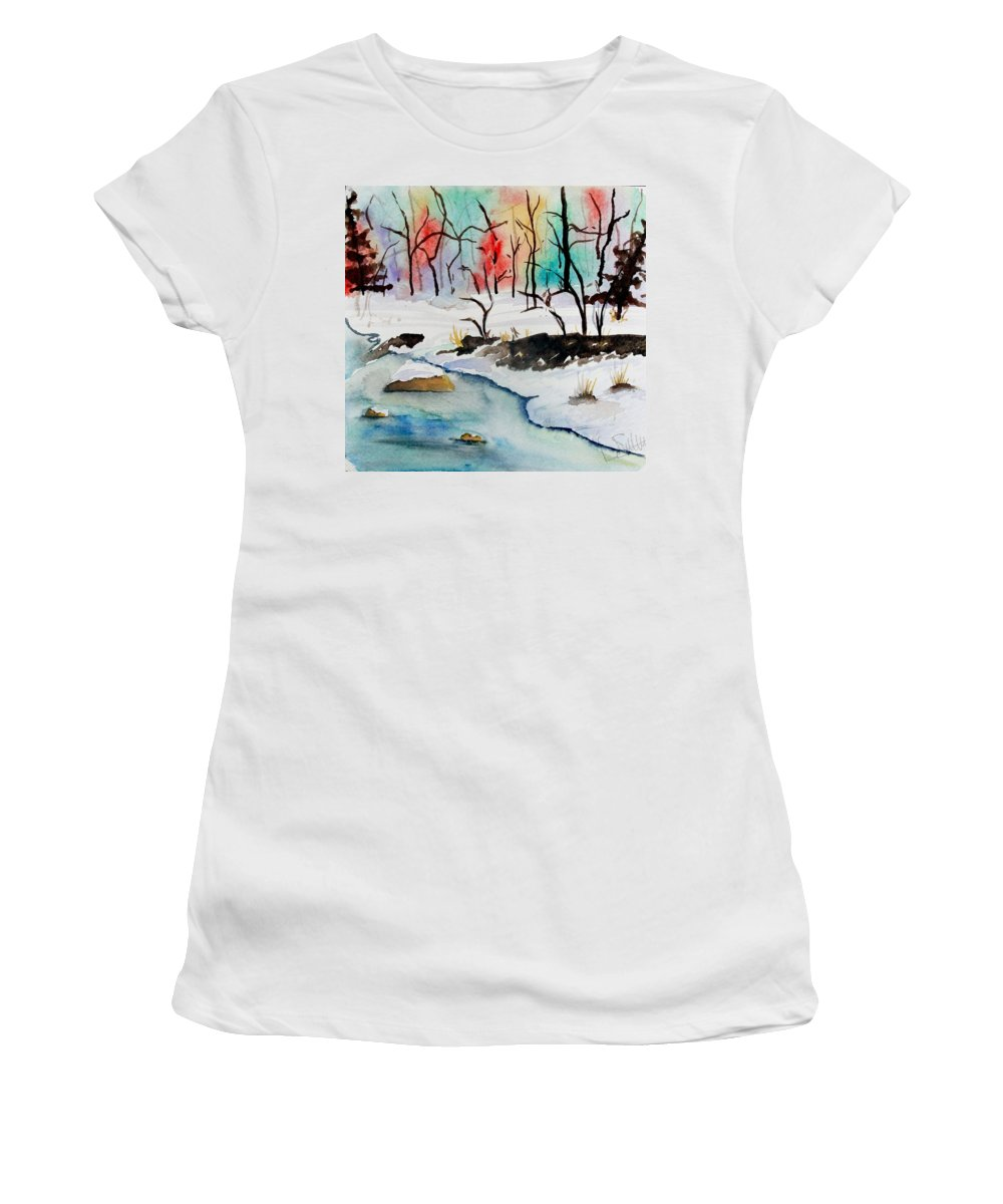 Colors Women's T-Shirt (Athletic Fit) featuring the painting Winter Stream by Jimmy Smith