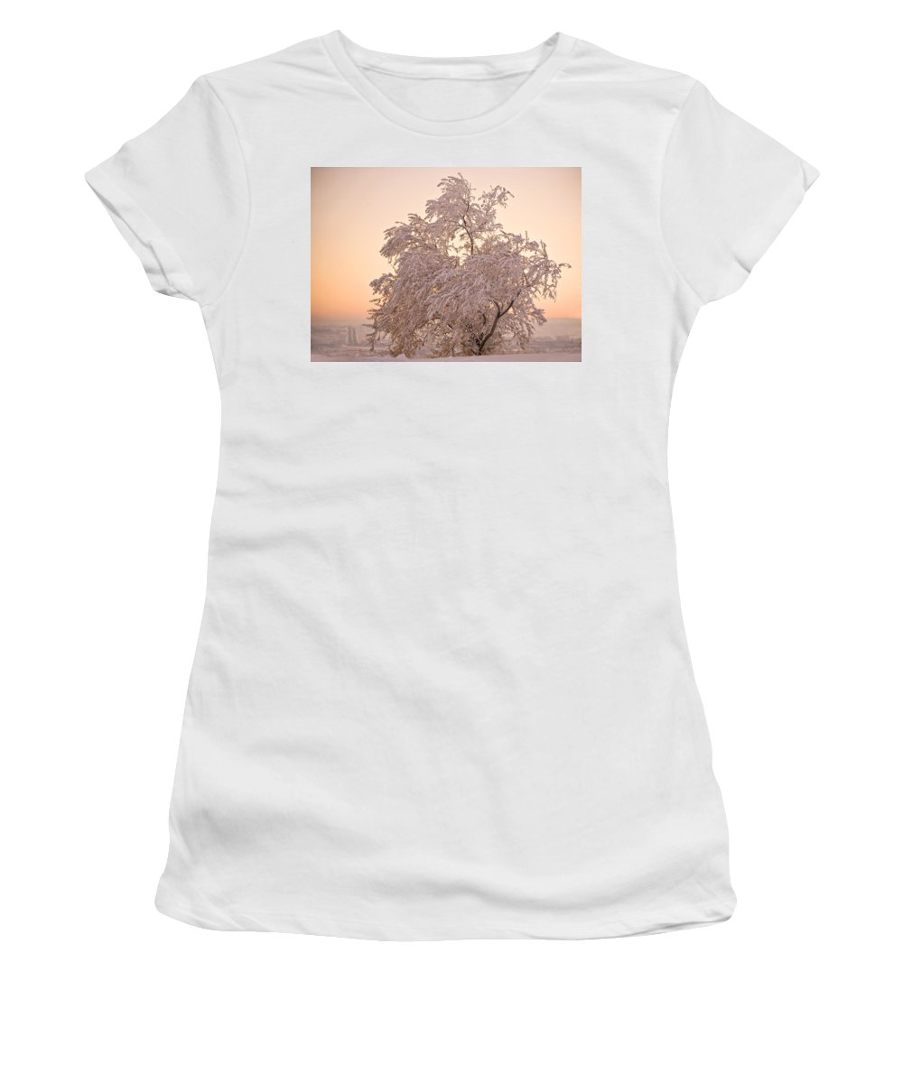 Winter Women's T-Shirt (Athletic Fit) featuring the photograph Winter Sunset by Marilyn Hunt