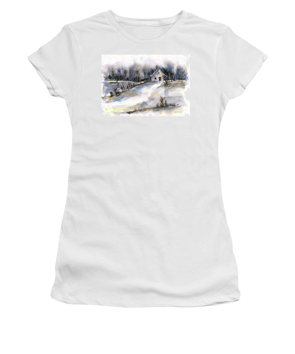 Abstract Landscape Women's T-Shirt featuring the painting Winter tale by Aniko Hencz