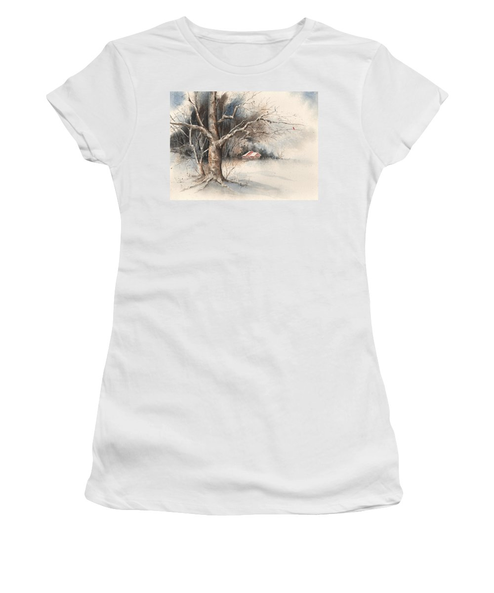 Tree Women's T-Shirt (Athletic Fit) featuring the painting Winter Tree by Sam Sidders