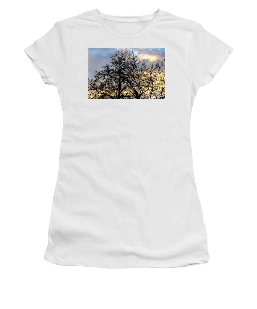 Winter Women's T-Shirt (Athletic Fit) featuring the photograph Winter Trees At Sunset by Andrea Mazzocchetti