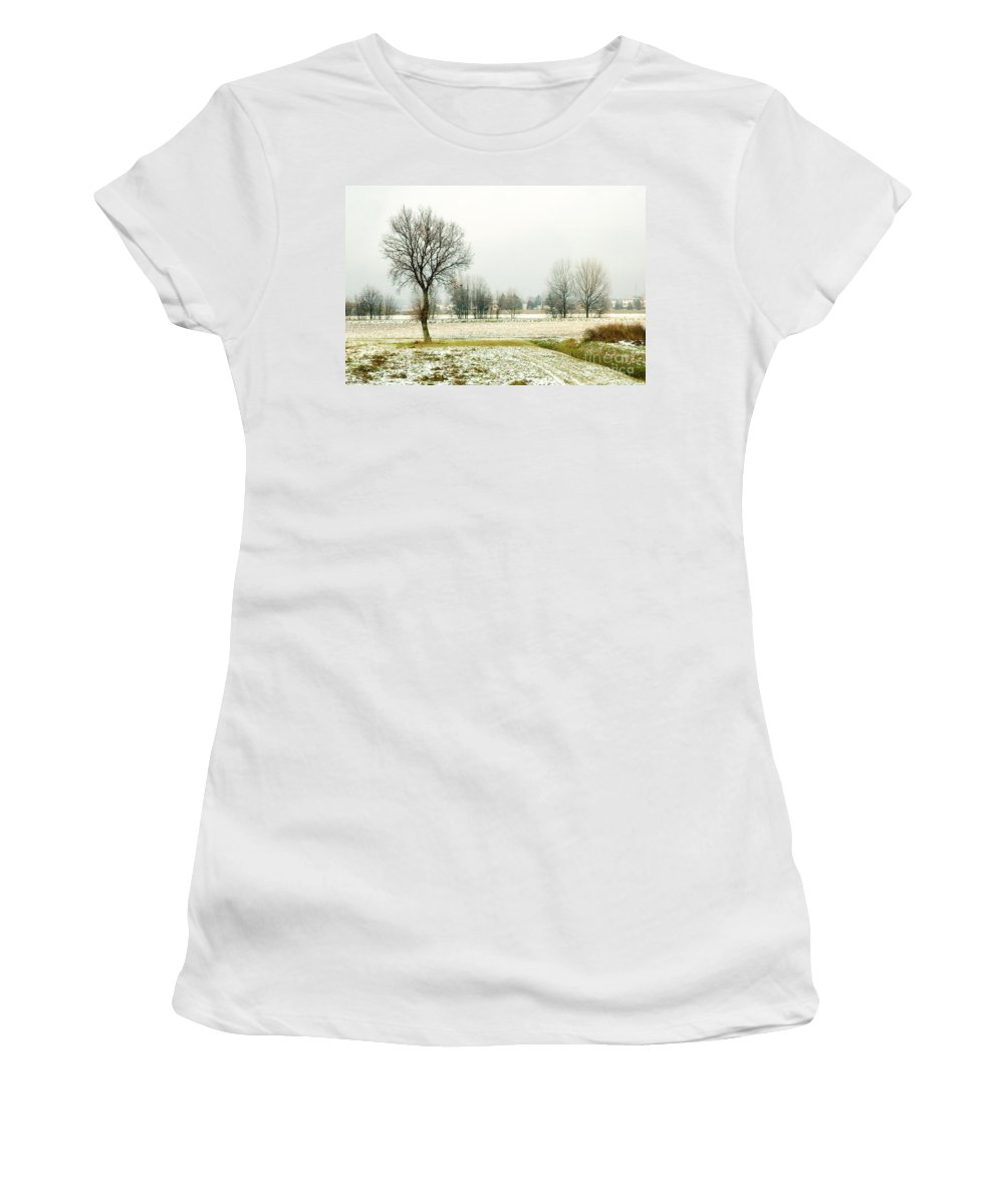 Bare Women's T-Shirt featuring the photograph Winter Trees by Silvia Ganora