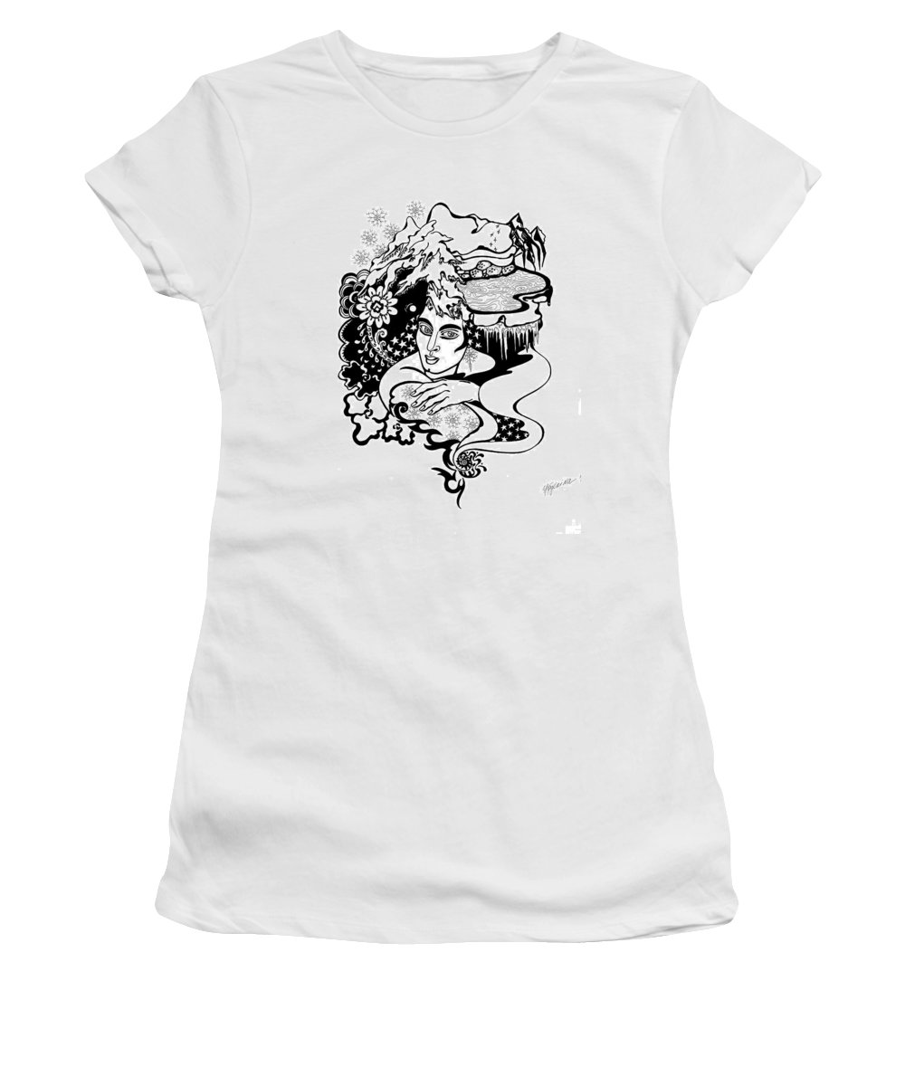 Snow Women's T-Shirt featuring the drawing Winter by Yelena Tylkina