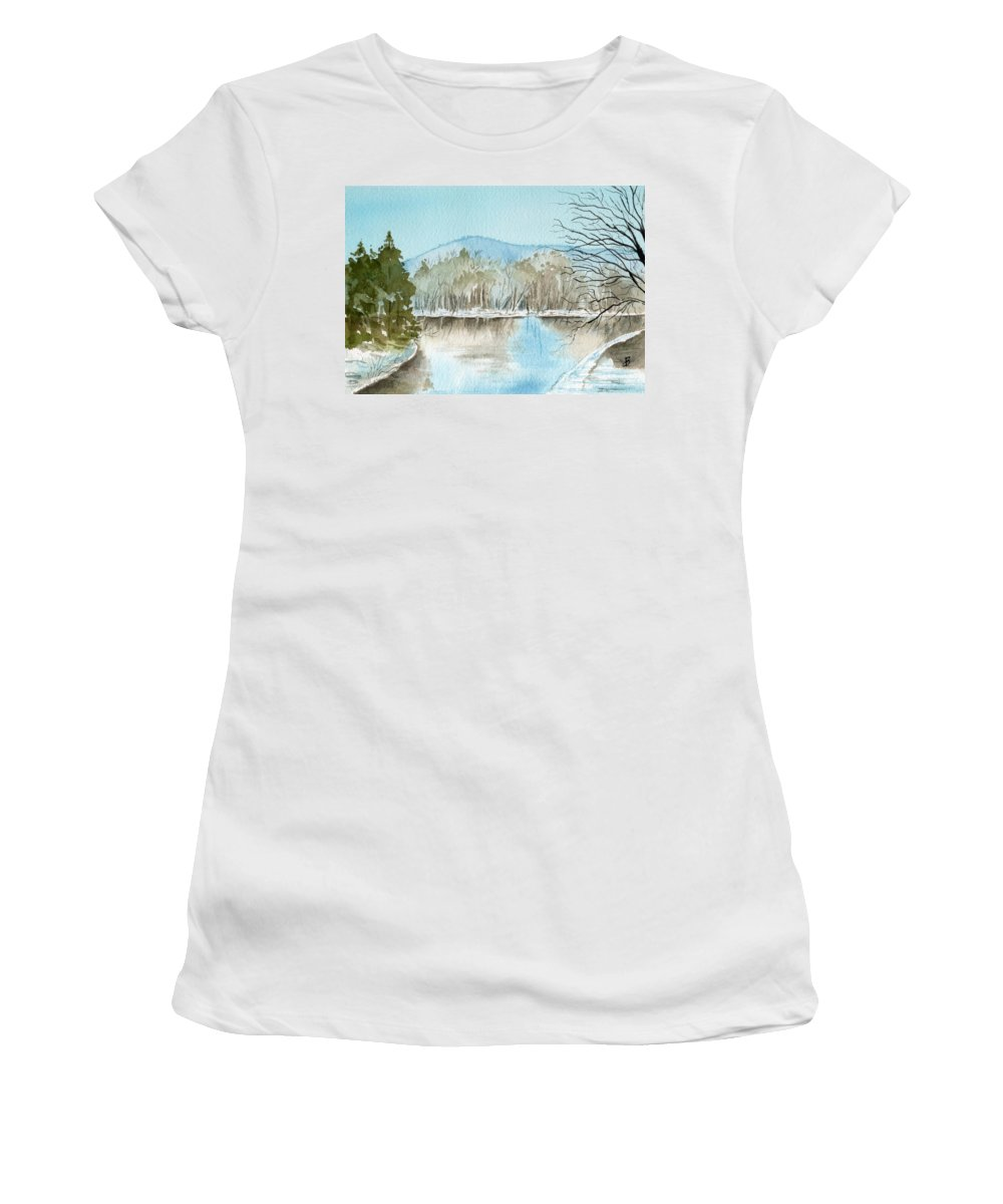 Landscape Women's T-Shirt featuring the painting Winter's Daylight Chill by Brenda Owen