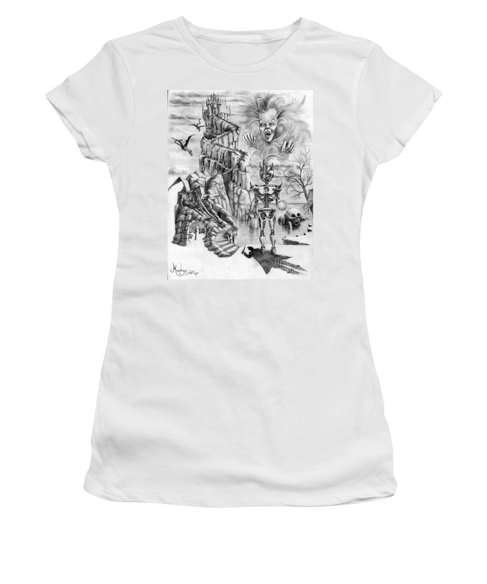 Witch Women's T-Shirt (Athletic Fit) featuring the drawing Witch Hunter by Murphy Elliott