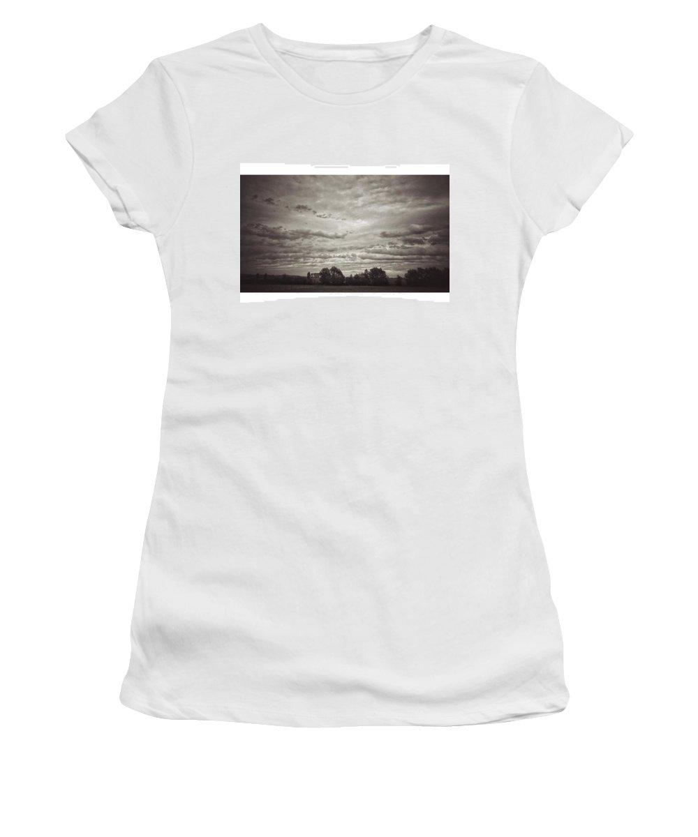 Cloudscape Women's T-Shirt featuring the photograph Wolken über Mir  #wolken #cloudscape by Mandy Tabatt