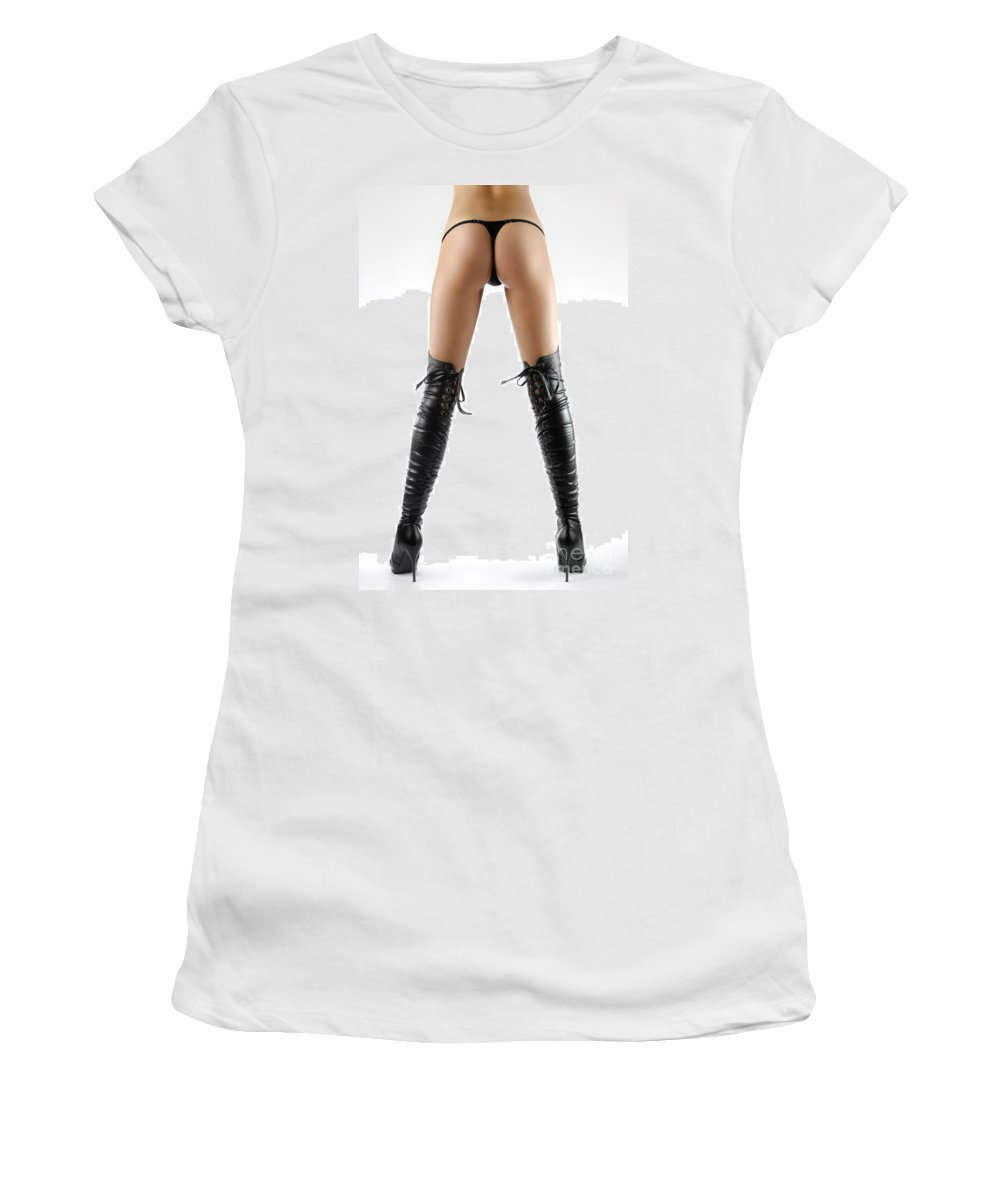 Boots Women's T-Shirt (Athletic Fit) featuring the photograph Woman Legs In Black Sexy Thigh High Stiletto Boots by Oleksiy Maksymenko