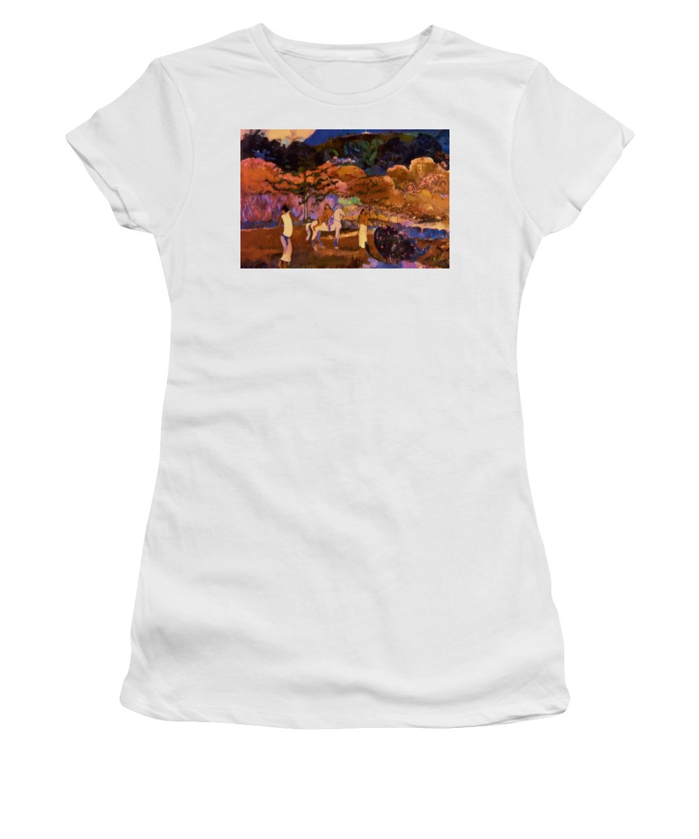 Women Women's T-Shirt (Athletic Fit) featuring the painting Women And White Horse 1903 by Gauguin Paul