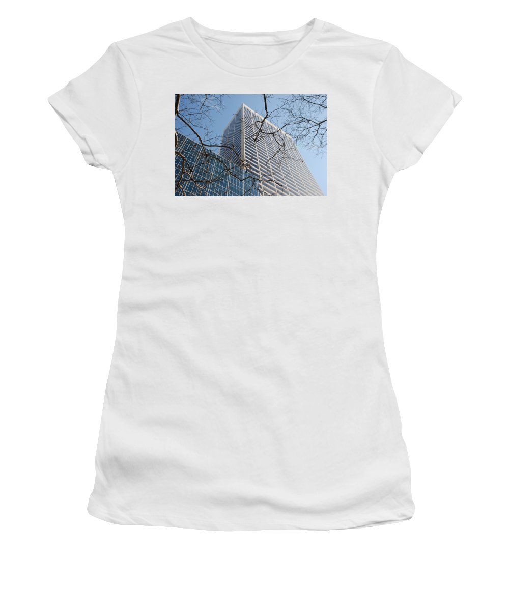 Architecture Women's T-Shirt (Athletic Fit) featuring the photograph Wood And Glass by Rob Hans