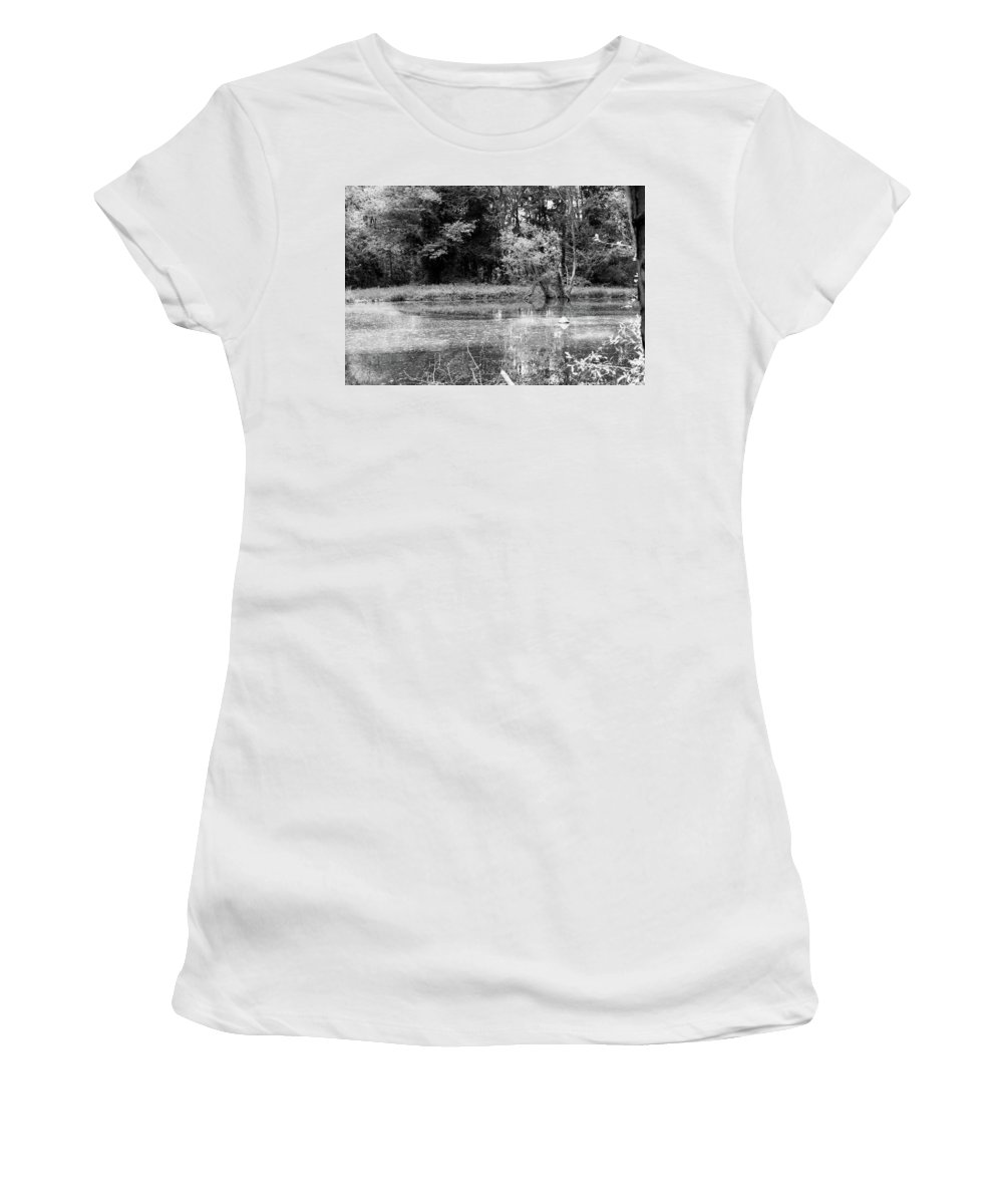Black And White Women's T-Shirt (Athletic Fit) featuring the photograph Wooded Pond by Stephanie Pierce