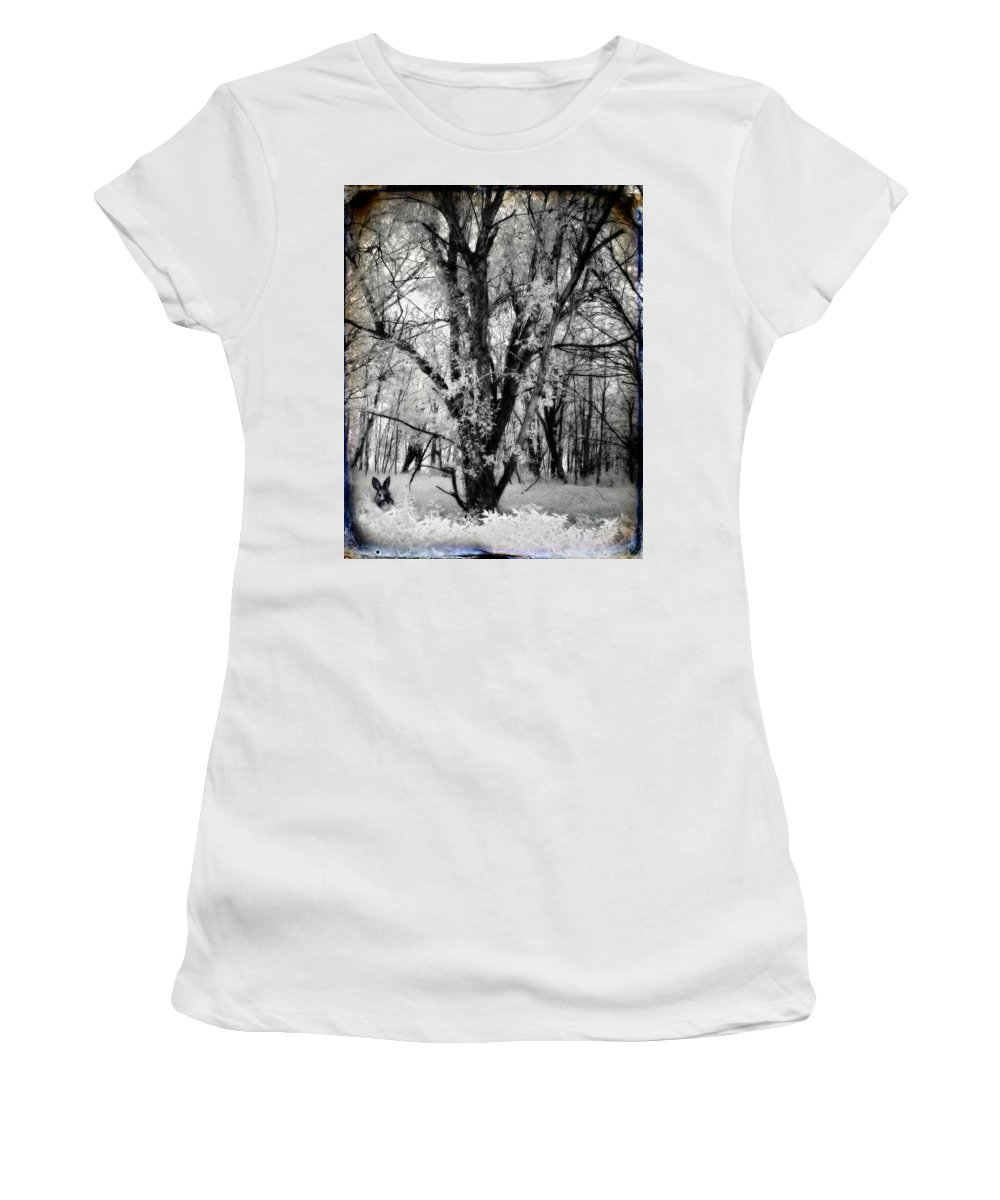 Infrared Photograph Women's T-Shirt (Athletic Fit) featuring the photograph Woodland Fluff by Gothicrow Images