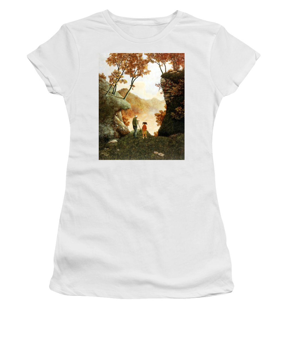 Mountain Women's T-Shirt (Athletic Fit) featuring the painting Words Of Wisdom by Duane R Probus