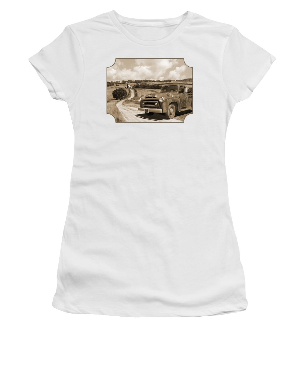 Farm Landscape Women's T-Shirt featuring the photograph Down On The Fram - International Harvester In Sepia by Gill Billington