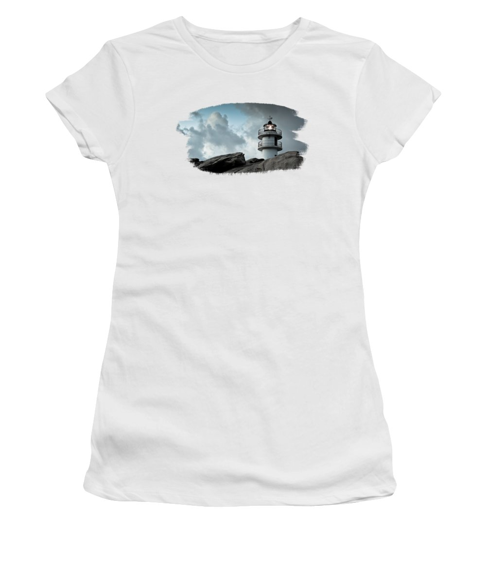 Lighthouse Women's T-Shirt featuring the photograph Working Lighthouse Isolated On White by Dvoevnore Photo